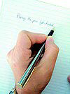 Writing with a left-handed cartridge pen